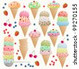 Set of colorful ice creams - stock vector
