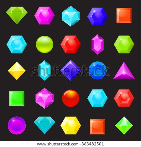 Set of colorful icons of gemstones, diamonds and crystals. Vector illustration - stock vector
