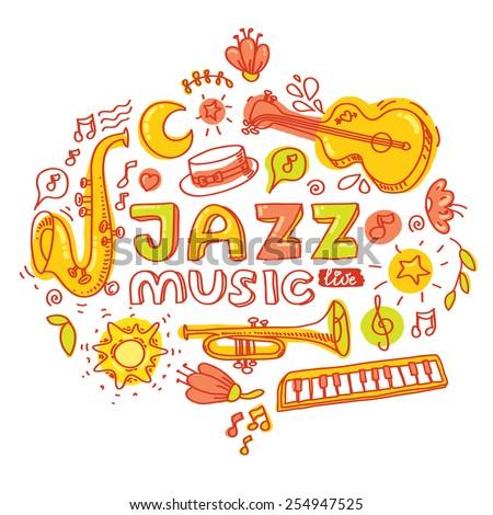 Set of colorful images. Jazz instruments: guitar, keyboard, saxophone, trumpet. Vector illustration and design element - stock vector