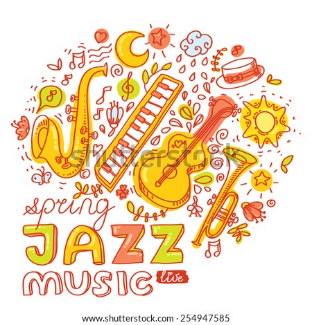 Set of colorful images. Musical jazz instruments: guitar, keyboard, saxophone, trumpet. Vector illustration and design element for poster, banner, invitation etc - stock vector