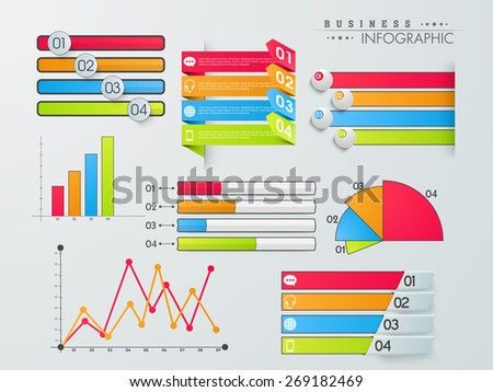 Set of colorful infographic elements including graphs, bars, paper stripes, pie chart and arrow with icons on grey background. - stock vector