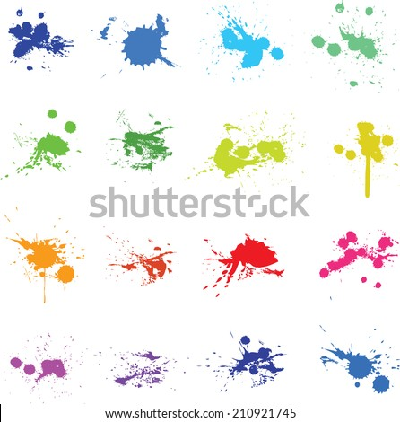 Set of colorful ink paint splat vector illustration - stock vector