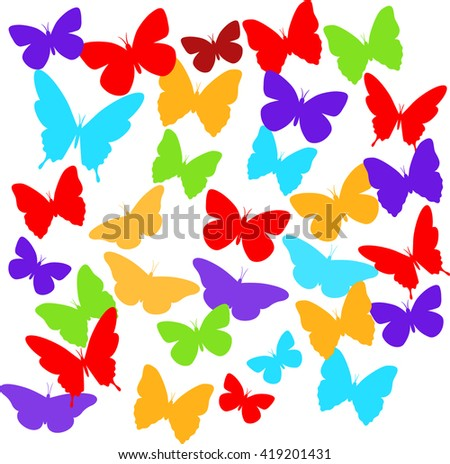Set of colorful  isolated butterflies.Vector illustration