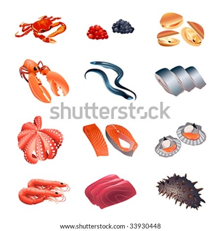 Set of colorful isolated fish and seafood for calorie table illustration - stock vector