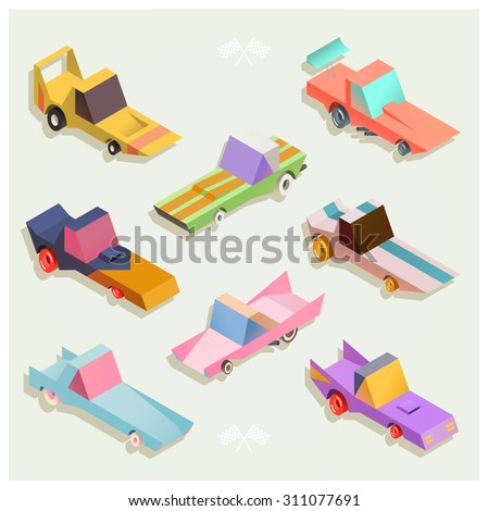 Set of colorful isometric, vintage racing cars / Vector
