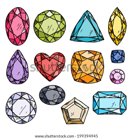 Set of colorful jewels. Hand drawn gemstones. Sketch style illustration. - stock vector
