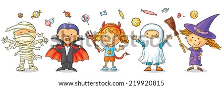 Set of colorful kids in Halloween costumes - stock vector