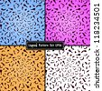 Set of colorful leopard seamless textures. EPS 8 vector illustration/ - stock photo