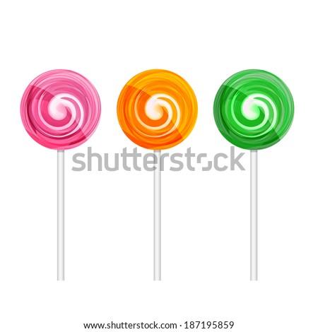 Set of colorful lollipops. Vector EPS10 illustration - stock vector