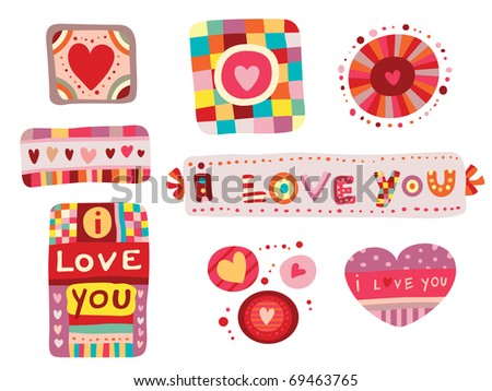 Set of colorful love elements, perfect for Valentine's Day Abstract objects with hearts and whimsical shapes. - stock vector