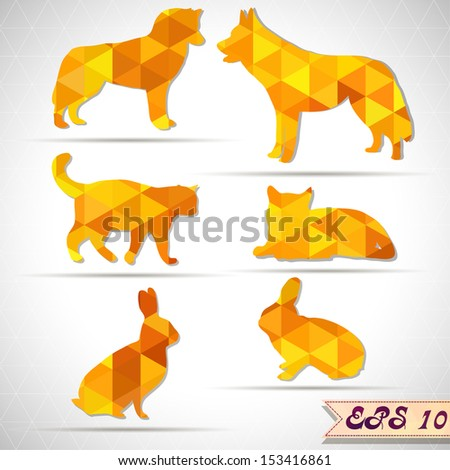 Set of colorful lovely animal lovers couples silhouette. cats, dogs, rabits. - stock vector