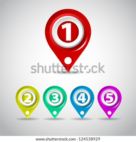 Set of Colorful Map Markers - Counter One, two, three, four, five - stock vector