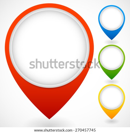 Set of colorful map markers, map pins - stock vector