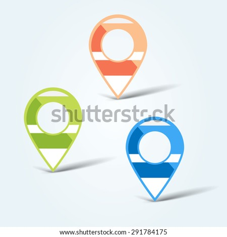 Set of colorful map pins - stock vector