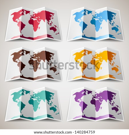 Set of colorful Maps of the World, vector illustration 10eps - stock vector