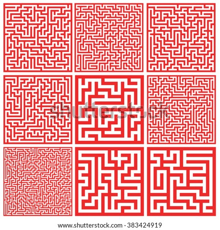Set of colorful mazes/ Good for logo or icon. Abstract vector background illustration. - stock vector
