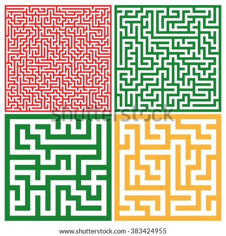 Set of colorful mazes/ Good for logo or icon. Abstract vector background illustration. Yellow, red and green colors. - stock vector