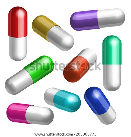 Set of colorful medical capsules in different positions Vector illustration