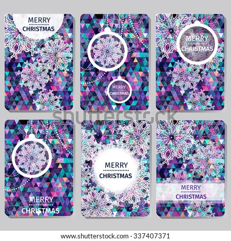 Set of 6 Colorful Merry Christmas and Happy New Year polygonal background with snowflakes, paper round ball,garland - tree decorations. Xmas ornaments. Geometric Vector illustration - eps10 - stock vector