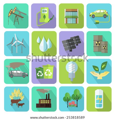 Set of colorful modern ecology icons with long shadow for web and mobile apps. Flat style design isolated icons. Vector illustration.
