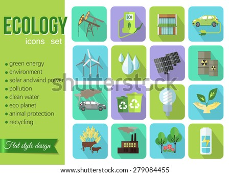 Set of colorful modern ecology icons with long shadow for web and mobile apps. Flat style design isolated icons. Vector illustration. - stock vector