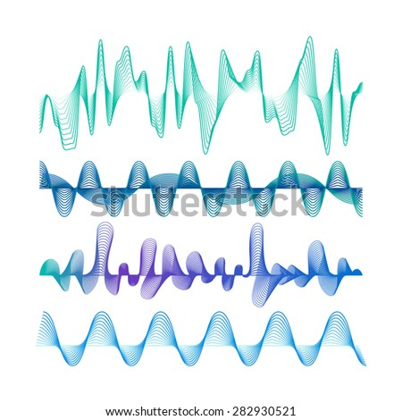 Set of Colorful Modern Equalizers. Frequency Vector Illustration. Music Waves Concept Elements. - stock vector