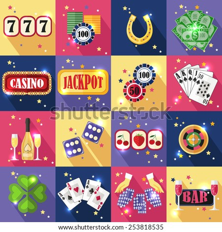 Set of colorful modern gambling icons, casino icons, money icons with long shadow for web and mobile apps. Flat style design isolated icons. Vector illustration. - stock vector