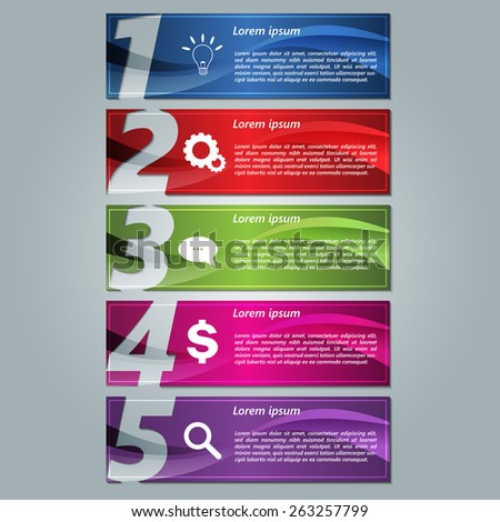 Set of Colorful Modern Text Box With Number Template, Rectangle Abstract Background Design, For Banner, Website, Brochure, Vector Illustration - stock vector