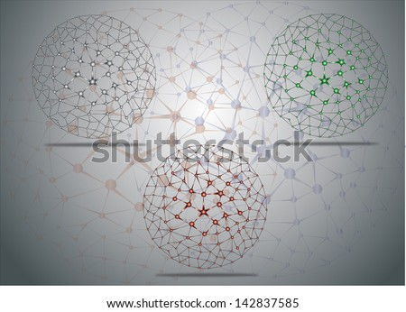 Set of colorful molecular structures in the form of a sphere. Eps 10 - stock vector