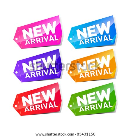 set of colorful new arrival labels - stock vector