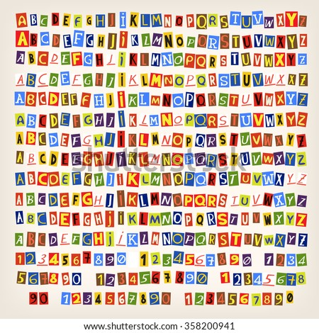 Set of colorful newspaper cut letters. 14 ways to combine alphabet in one style. - stock vector