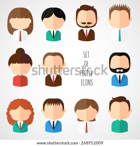 Set of colorful office people icons. Businessman. Businesswoman. Man. Woman. Trendy flat style. Funny cartoon faces characters for your design. Collection of avatar. Vector illustration. - stock vector