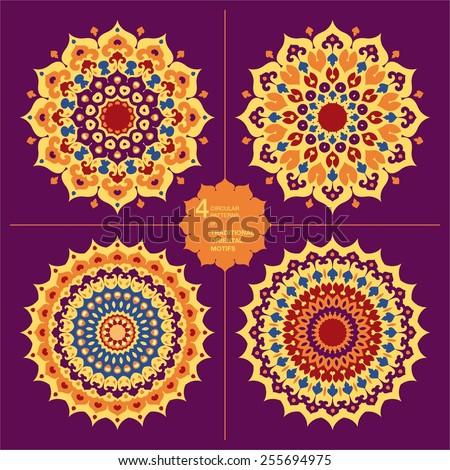 Set of 4 colorful oriental mandalas. Islam, Arabic, Asian motifs - stock vector