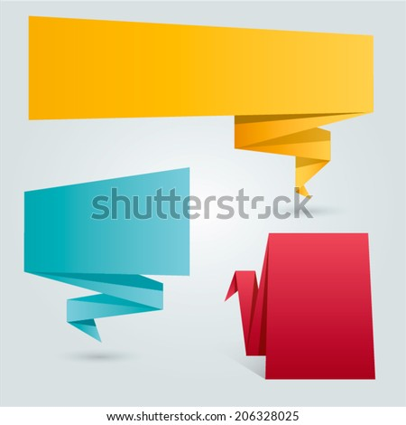 Set of colorful origami labels for your text. Vector design elements. - stock vector