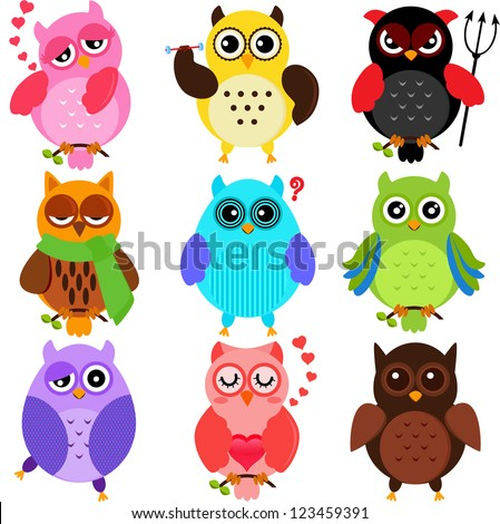 Set of Colorful Owls with different characters - stock vector