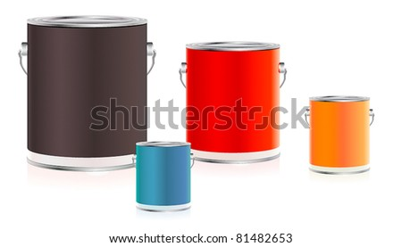 Set of colorful paint buckets - stock vector