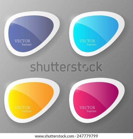 Set of colorful paper banners. Vector illustration. - stock vector