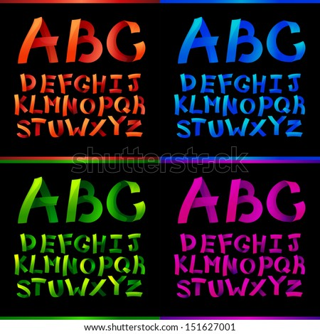 set of colorful paper crafting alphabets - stock vector