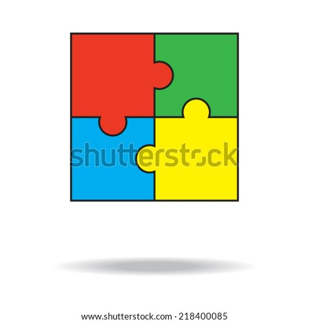 Set of colorful paper puzzles. Teamwork