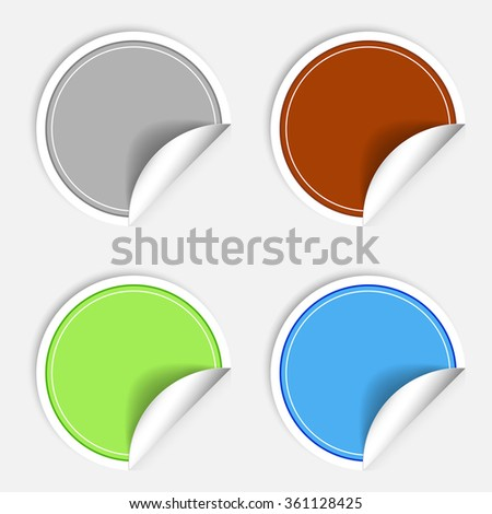 Set of colorful paper stickers on white background. Round sticker labels stamp. Vecror sticker EPS10 - stock vector