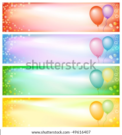 Set of colorful party banners, mesh gradient used, EPS10 compatible illustration - stock vector