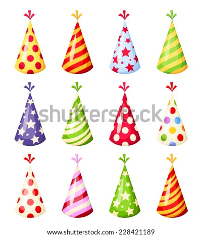 Set of colorful party hats. Vector illustration. - stock vector