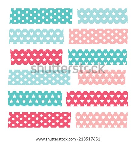 Set of colorful patterned washi tape stripes - stock vector