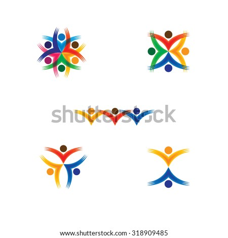 set of colorful people icons in circle - vector concept school, children. this also represents social media community, leader & leadership, unity, friendship, play group, employees & meeting - stock vector