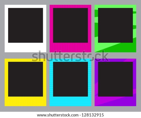 Set of colorful photo frames Vector - stock vector