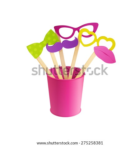 set of colorful photo props in pink vase   - stock vector