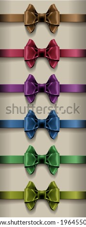 Set of colorful photorealistic silk ribbon bows. Created with gradient mesh.  - stock vector