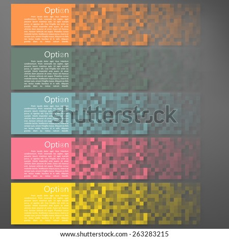 Set of Colorful Pixel Banners for business and marketing - stock vector