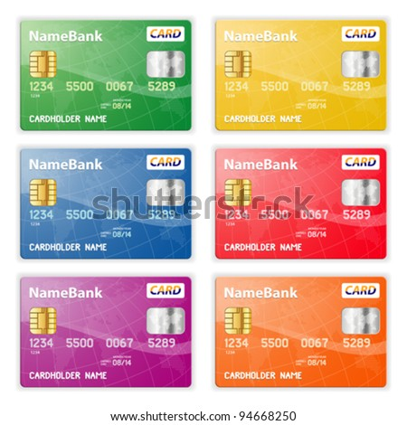 Set of Colorful Plastic Credit Cards, vector illustration - stock vector
