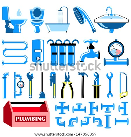 Set of colorful plumbing icons - stock vector